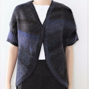 CHICO'S cardigan sweater top wool blend shrug blue